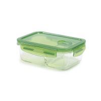 丽芙含隔层玻璃饭盒绿色700ml